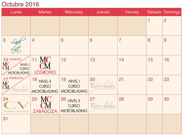 calendario formaciones LaSala AraEstetic octubre 2016