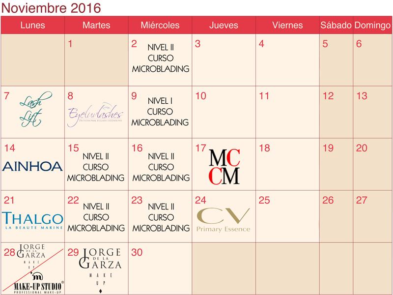 calendario formaciones LaSala AraEstetic noviembre 2016