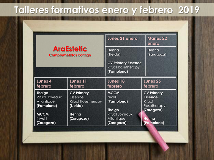calendario Cursos septiembre 2018 AraEstetic